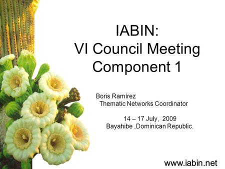 protected areas thematic network iabin council meeting