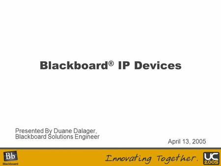 Blackboard® IP Devices