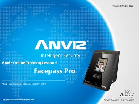 Copyright © 2001-2013 Anviz Global Inc. USA Anviz Online Training Lesson 9 Anviz International Technical Support Team Facepass Pro.