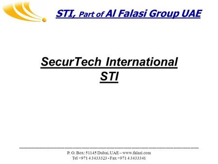 STI, Part of Al Falasi Group UAE ---------------------------------------------------------------------------------------------------------------------------------