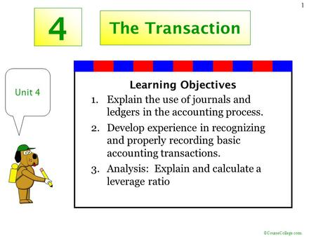 4 The Transaction Learning Objectives