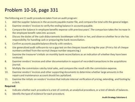 Problem 10-16, page 331 The following are 11 audit procedures taken from an audit program: Add the supplier balances in the accounts payable master file,