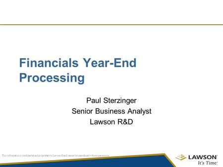 Financials Year-End Processing