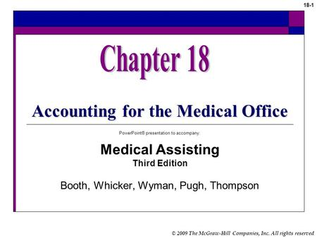 © 2009 The McGraw-Hill Companies, Inc. All rights reserved 18-1 Accounting for the Medical Office PowerPoint® presentation to accompany: Medical Assisting.