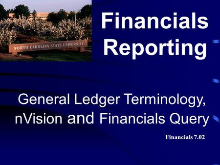 General Ledger Terminology, nVision and Financials Query Financials Reporting Financials 7.02.