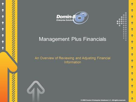 Management Plus Financials An Overview of Reviewing and Adjusting Financial Information © 2009 Domin-8 Enterprise Solutions LLC. All rights reserved.
