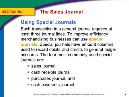 Journalizing and Posting to the Sales Journal