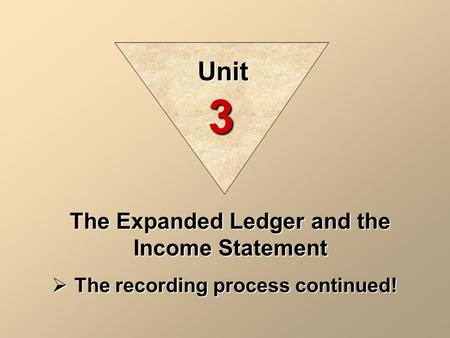 The Expanded Ledger and the Income Statement