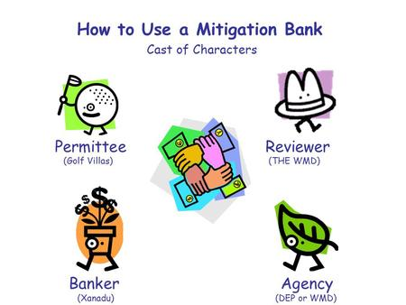 How to Use a Mitigation Bank Cast of Characters Permittee Reviewer (Golf Villas) (THE WMD) Banker Agency (Xanadu) (DEP or WMD)