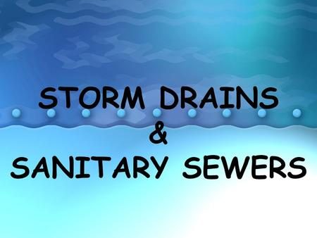 STORM DRAINS & SANITARY SEWERS. STORM DRAINS WHAT IS A STORM DRAIN? Drains in the ground that conduct water that collects during and after rain and snow.