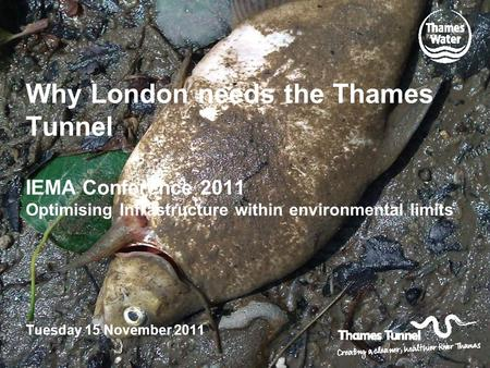 Why London needs the Thames Tunnel IEMA Conference 2011 Optimising Infrastructure within environmental limits Tuesday 15 November 2011.