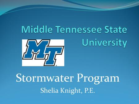 Stormwater Program Shelia Knight, P.E.. Stormwater Program Management EPA – Environmental Protection Agency – Federal Mandate – Clean Water Act 1972 TDEC.