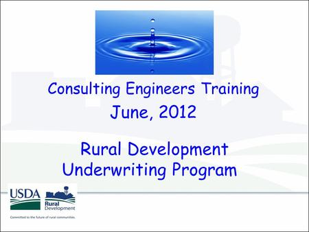 Rural Development Underwriting Program Consulting Engineers Training June, 2012.