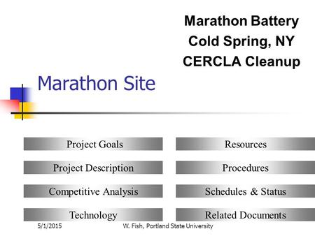 5/1/2015W. Fish, Portland State University Marathon Site Marathon Battery Cold Spring, NY CERCLA Cleanup Project Goals Project Description Competitive.