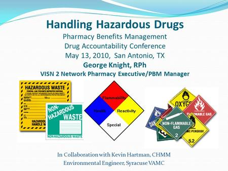 Handling Hazardous Drugs Pharmacy Benefits Management Drug Accountability Conference May 13, 2010, San Antonio, TX George Knight, RPh VISN 2 Network Pharmacy.