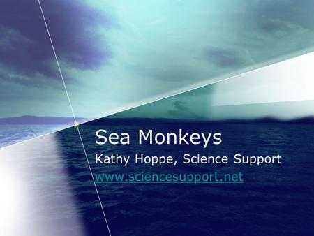 Sea Monkeys Kathy Hoppe, Science Support www.sciencesupport.net.