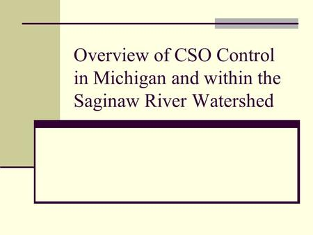 Overview of CSO Control in Michigan and within the Saginaw River Watershed.