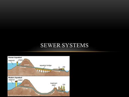 Kyle Schow SEWER SYSTEMS. ANCIENT SEWER SYSTEMS There has been evidence of sewer lines dating back to 8000 B.C although the pipes usually lead to a creek.
