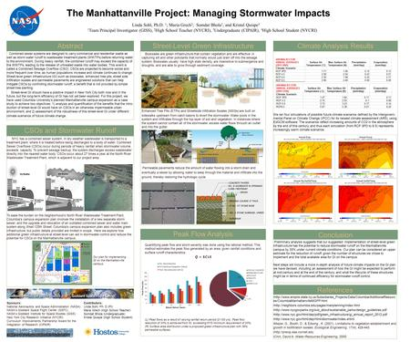 The Manhattanville Project: Managing Stormwater Impacts Linda Sohl, Ph.D. 1 ; Maria Grech 2 ; Somdat Bhola 3, and Kristal Quispe 4 1 Team Principal Investigator.