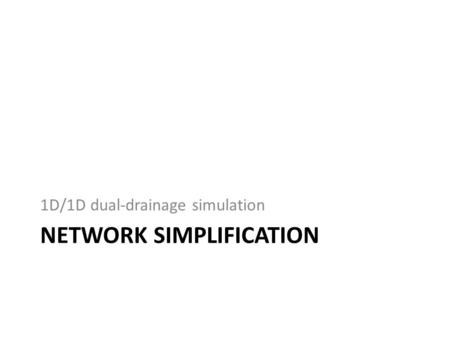NETWORK SIMPLIFICATION 1D/1D dual-drainage simulation.
