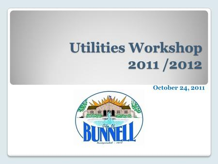 Utilities Workshop 2011 /2012 October 24, 2011. Agenda Departmental Organization Year to Date Accomplishments Departmental Budget Equipment Inventory.
