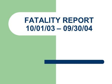 FATALITY REPORT 10/01/03 – 09/30/04. FY - 04 Fatalities By Area Office 267 Total Atlanta East = 20 Atlanta West = 29 Birmingham = 27 Columbia = 2 Ft.