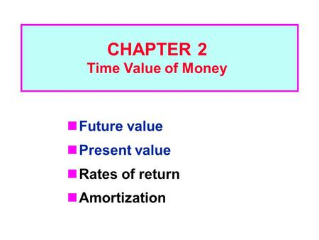 Future value Present value Rates of return Amortization CHAPTER 2 Time Value of Money.