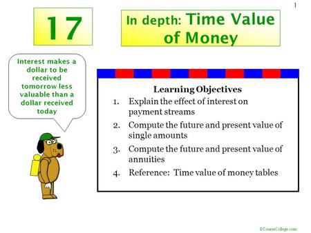 ©CourseCollege.com 1 17 In depth: Time Value of Money Interest makes a dollar to be received tomorrow less valuable than a dollar received today Learning.