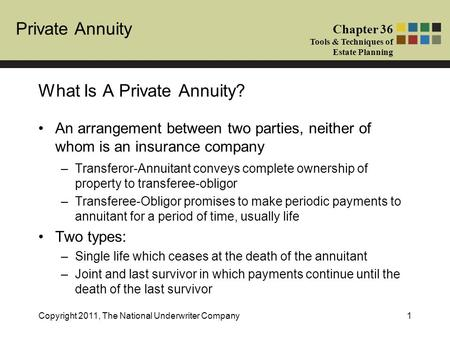 Private Annuity Chapter 36 Tools & Techniques of Estate Planning Copyright 2011, The National Underwriter Company1 An arrangement between two parties,