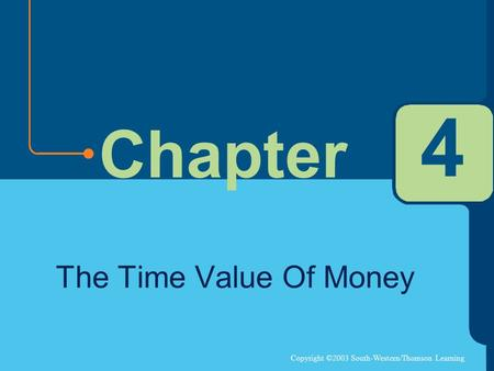 Copyright ©2003 South-Western/Thomson Learning Chapter 4 The Time Value Of Money.