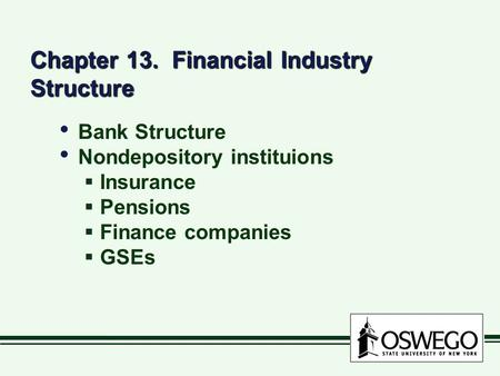 Chapter 13. Financial Industry Structure Bank Structure Nondepository instituions  Insurance  Pensions  Finance companies  GSEs Bank Structure Nondepository.