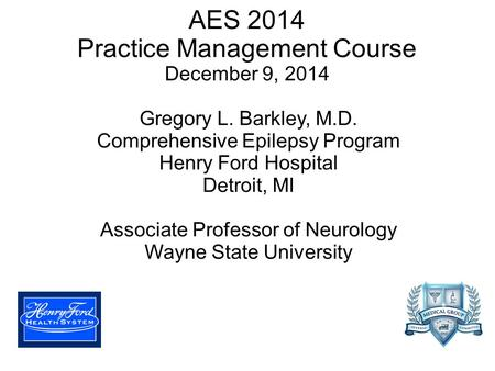 AES 2014 Practice Management Course December 9, 2014