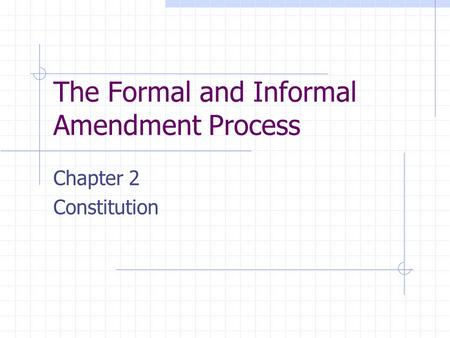 The Formal and Informal Amendment Process