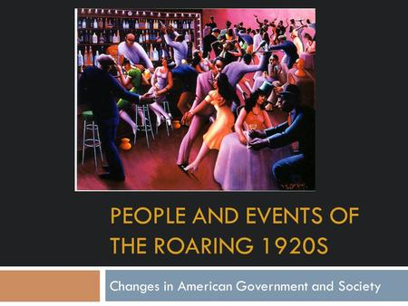 Events of the roaring twenties essay