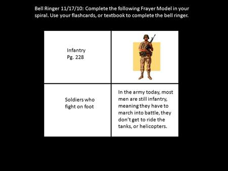 Bell Ringer 11/17/10: Complete the following Frayer Model in your spiral. Use your flashcards, or textbook to complete the bell ringer. Infantry Pg. 228.