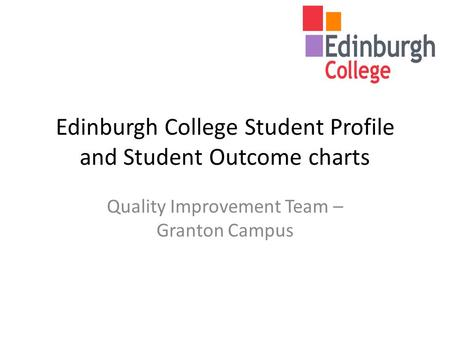 Edinburgh College Student Profile and Student Outcome charts Quality Improvement Team – Granton Campus.