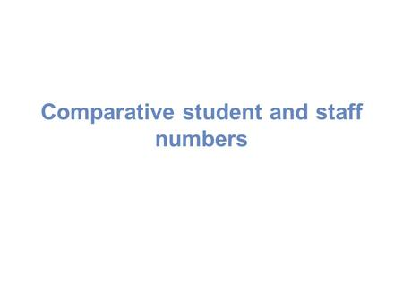 Comparative student and staff numbers. Total student numbers (fte)