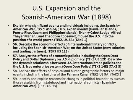 an overview of the spanish american war of 1898 On april 21, 1898, the united states declared war against spain the causes of the conflict were many, but the immediate ones were america's support of cuba's ongoing struggle against spanish rule and the mysterious explosion of the uss maine in havana harbor it would be the first overseas war.