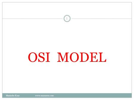 OSI MODEL 1 Maninder Kaur www.eazynotes.com. Introduction to OSI Model OSI model is based on the proposal developed by the International Standards Organization.