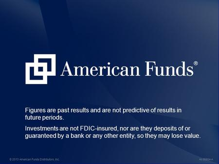 AI-36904© 2013 American Funds Distributors, Inc. Figures are past results and are not predictive of results in future periods. Investments are not FDIC-insured,