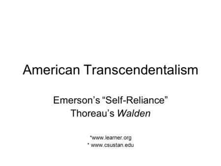 transcendentalism essential essays of emerson and thoreau summary