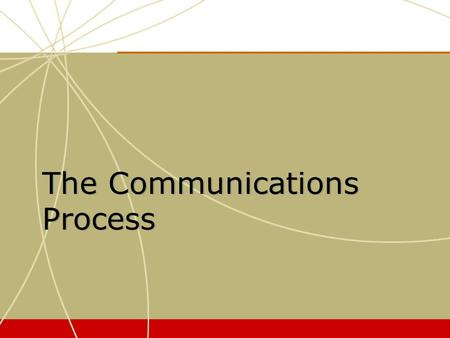 The Communications Process. Models of the Response Process.