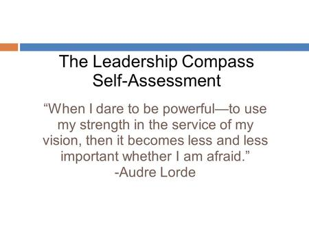 The Leadership Compass Self-Assessment