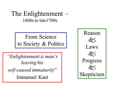 "The Enlightenment – 1600s to late1700s ""Enlightenment is man's leaving his self-caused immaturity"" Immanuel Kant Reason  Laws  Progress  Skepticism."