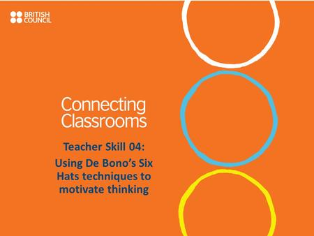 Teacher Skill 04: Using De Bono's Six Hats techniques to motivate thinking.