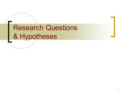 1 Research Questions & Hypotheses. 2 Research questions/hypotheses Viewed within the context of logical structure and objectives.