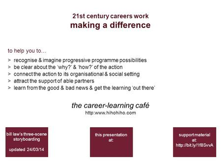 21st century careers work making a difference bill law's three-scene storyboarding updated 24/03/14 support material at:  to help.