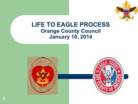 1 LIFE TO EAGLE PROCESS Orange County Council January 10, 2014.
