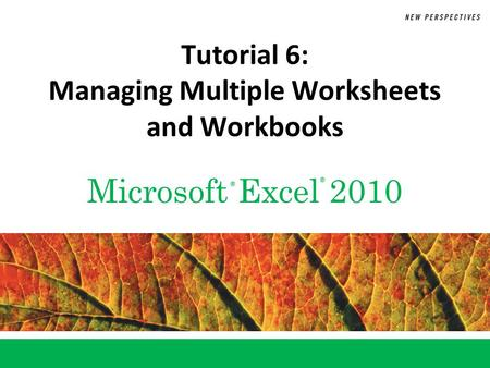 Microsoft Excel 2010 ® ® Tutorial 6: <strong>Managing</strong> Multiple Worksheets and Workbooks.