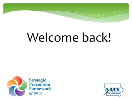 Welcome back!. Learning Objectives Understand various perspectives as they relate to cultural competence. Explore the various capacities needed for SPF.